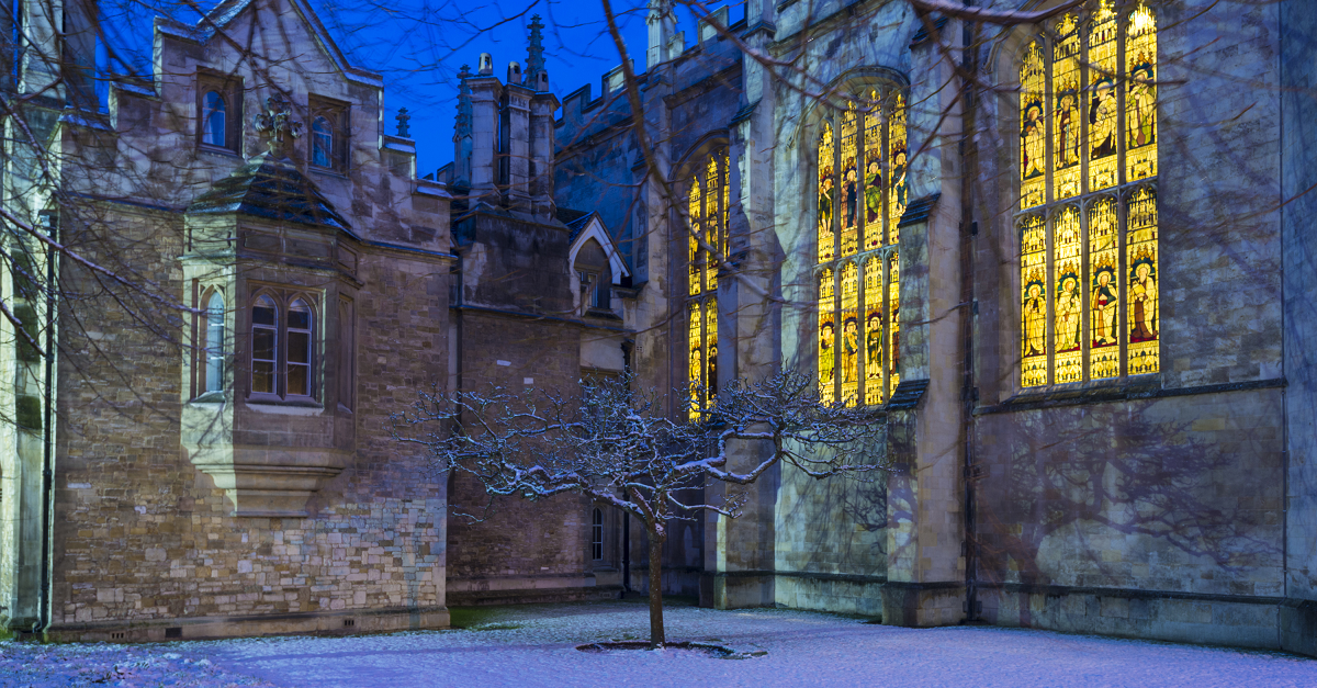 Trinity College Chapel at night, seen from outside the Great Gate