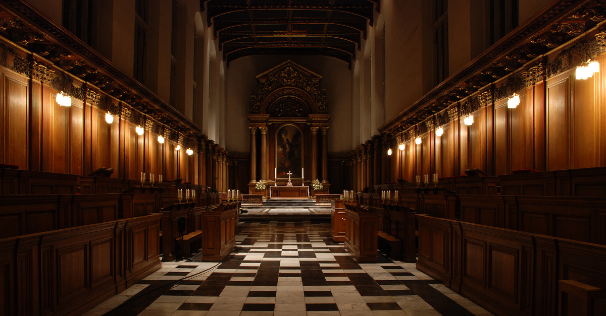 Inside Trinity College Chapel at night