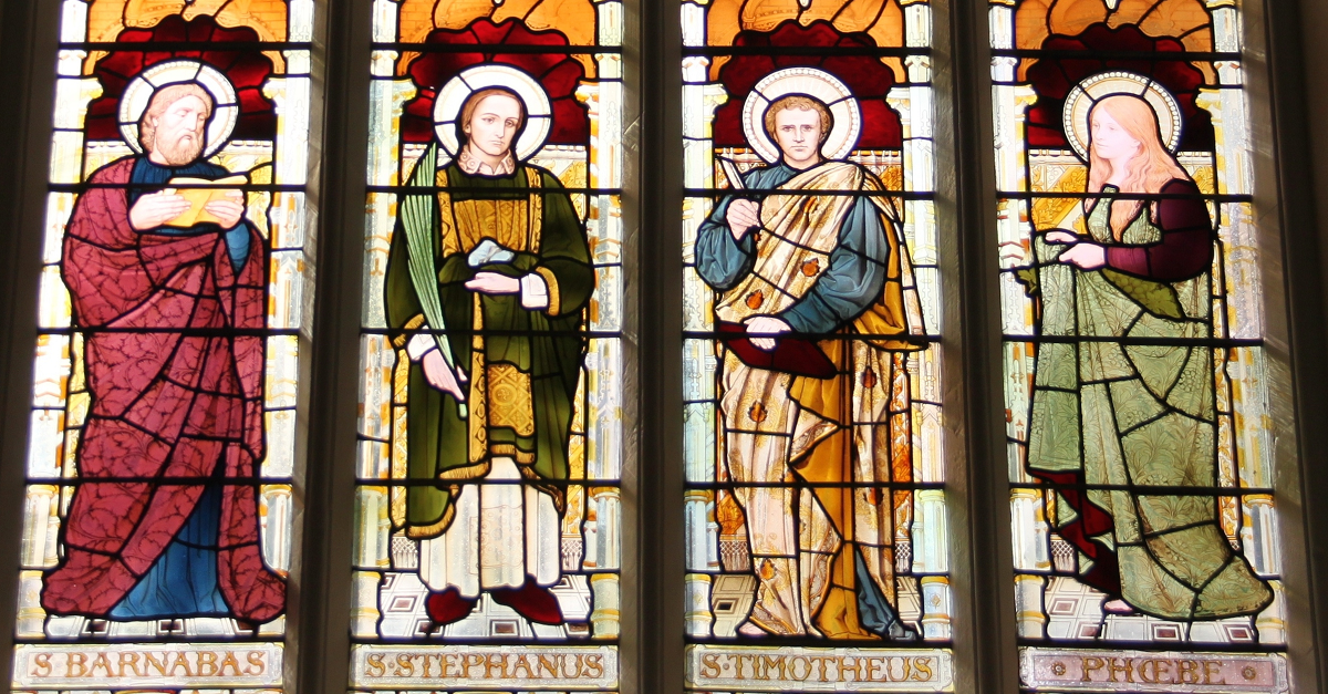 A stained glass window in Trinity College Chapel
