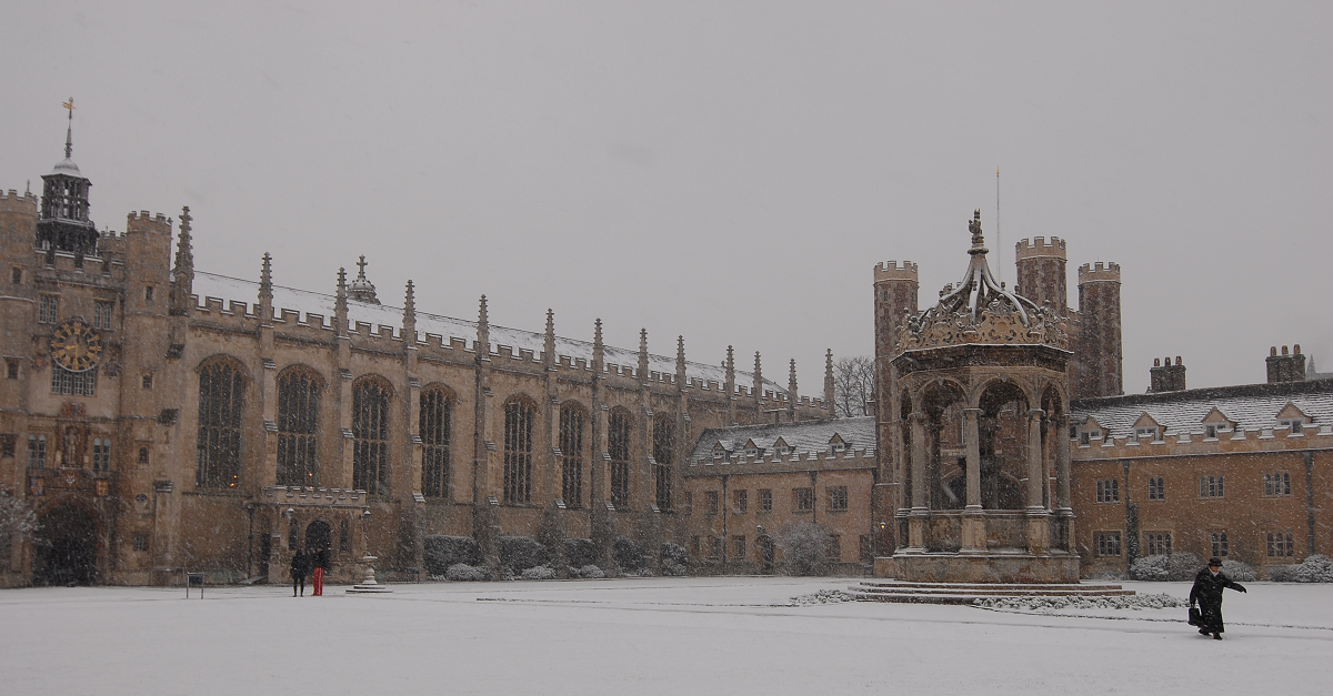 Trinity College Chapel in snow